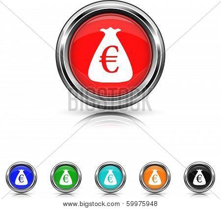 Euro Sack Icon - Six Colors Vector Set