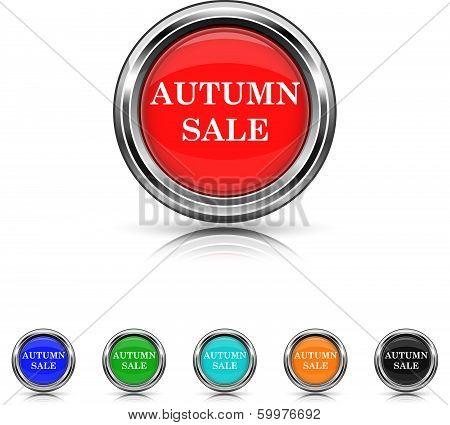 Autumn Sale Icon - Six Colors Vector Set