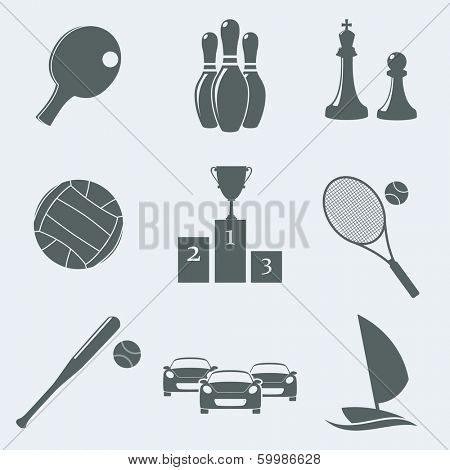 Vector illustration of icons on a theme of sport