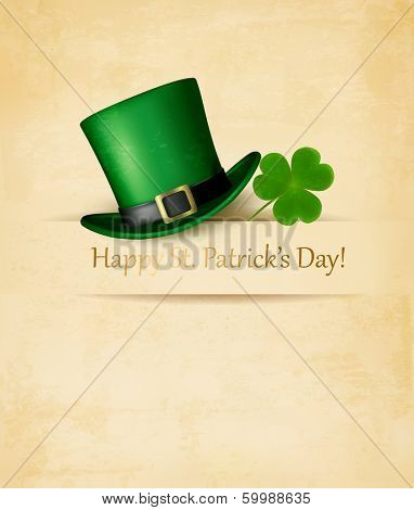Saint Patrick's Day background with clove leaf and green hat. Vector illustration.