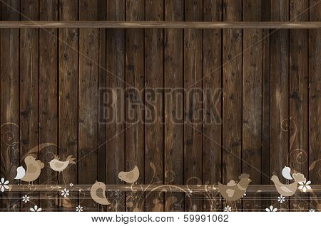 Wood Wall With Birds