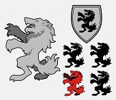 Heraldic Wolf vector design element, several color variants poster