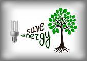 Illustration of energy saving light bulb with green tree poster