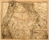 Original vintage map of the US Pacific Northwest printed in 1875. poster