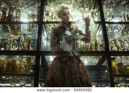 Old fashioned woman in laboratory poster