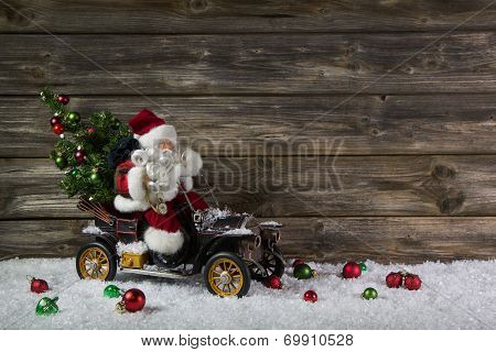 Funny Wooden Christmas Background With Santa For A Voucher Or Coupon.