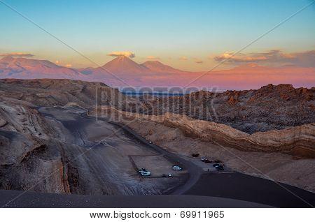 View Of Volcan Licancabur From Valle De La Luna Near San Pedro De Atacama, Chile
