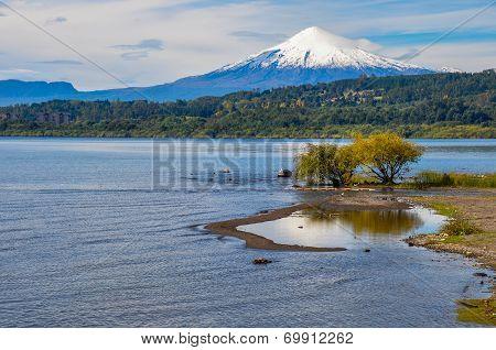 View Of Volcan Villarrica From Villarrica Itself, Chile