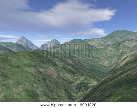Computer Generated Mountain Scenery