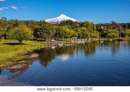Villarrica Volcano, Viewed From Pucon, Chile