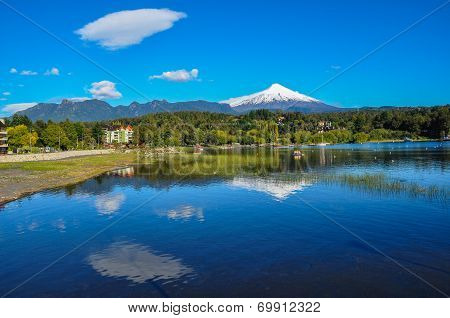 Villarrica Volcano viewed from Pucon in Chile. poster