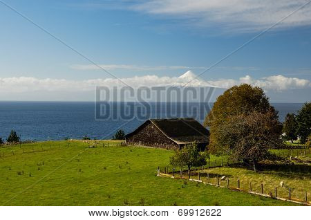 Old Wooden Barn With View Over Osorno Volcano, Puerto Varas, Chile