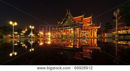 Marble temple at night. Bangkok, Thailand