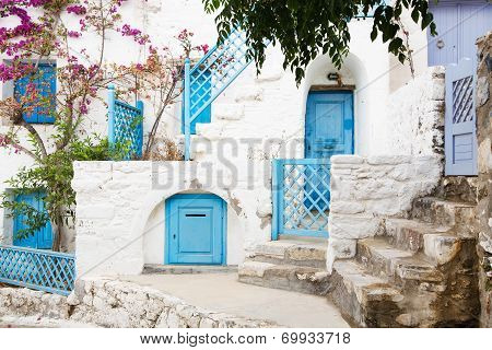 Architecture On The Cyclades. Greek Island Buildings With Her Typical Colors.