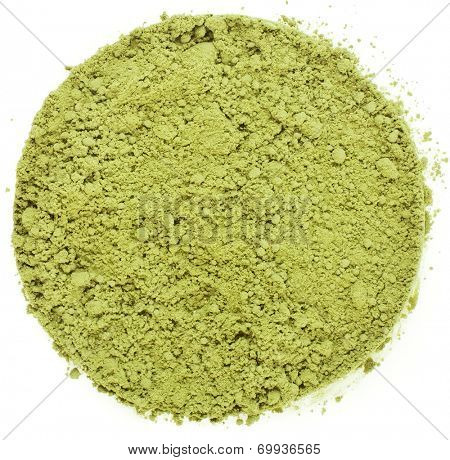Heap pile of Matcha, Green Japanese Powered Tea Surface Top view  isolated on white background