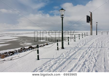 View From Promenade At The Frozen Sea In Wintertime