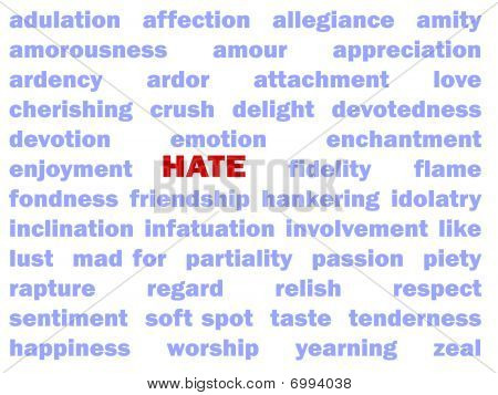 "The red word ""Hate"" is surrounded by positive words. poster"