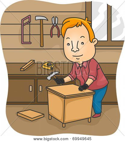 Illustration of a Man Constructing a Table on His Own
