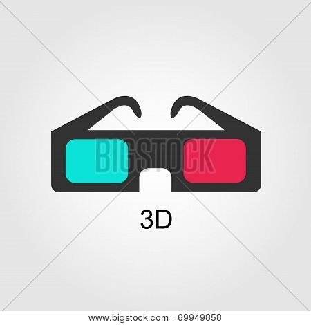 Modern 3D cinema glasses, flat design