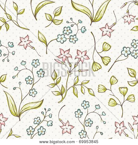 Beautiful seamless pattern with Forget-me not and jasmine flowers. Vector background.