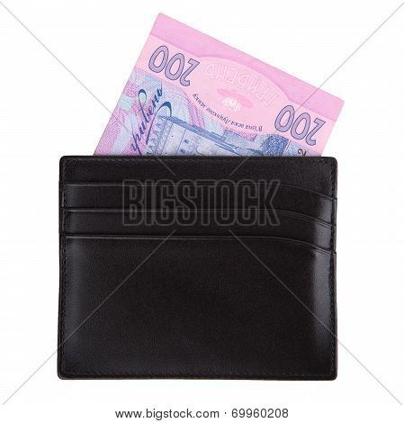 Black Purse With Grivnas On White Background