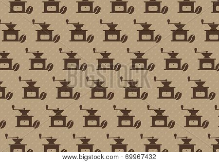 Pattern with coffee grinder and coffee bean