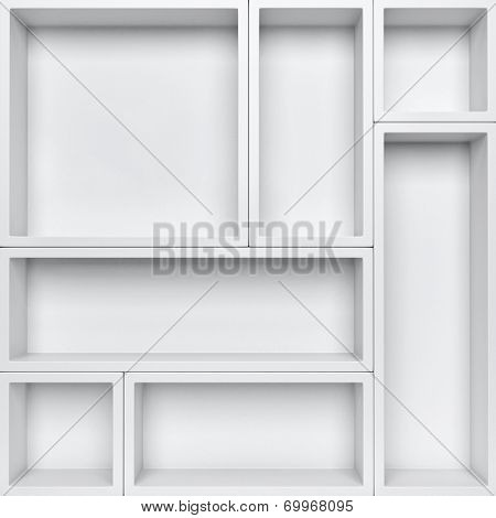 Empty white shelves background. Orginize product background