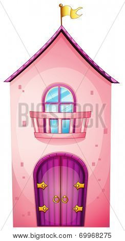 Illustration of a pink castle on a white background