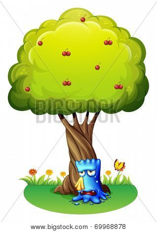 Illustration of a blue monster sobbing under the tree on a white background