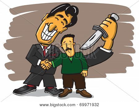 Back stabbing business man