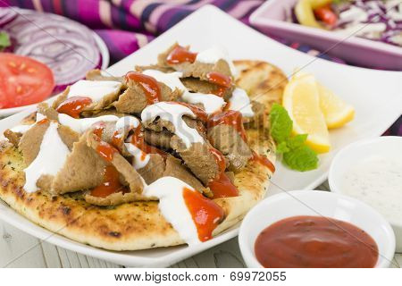 Donner Meat on Naan
