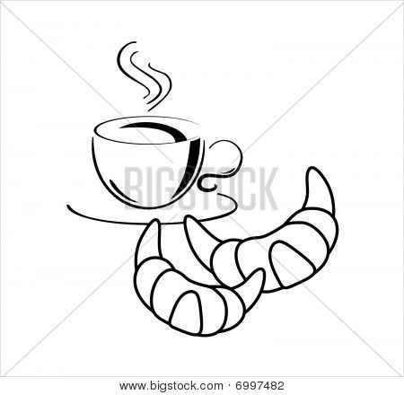 Cup of cofee with croissants, vecor illustration