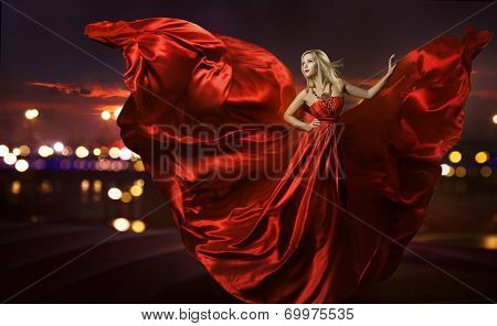 Women Dancing In Silk Dress, Artistic Red Blowing Gown Waving And Flittering Fabric, Night City Stre