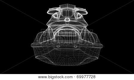 Jetski isolated front view body structure wire model poster