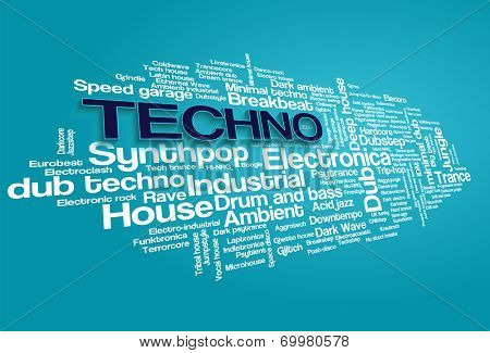 Electronic Techno Music Styles Word Cloud Bubble Tag Tree vector on blue background