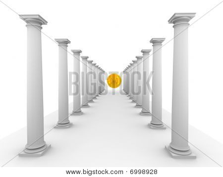 Image Of Classic Columns With Mirror Yellow Sphere