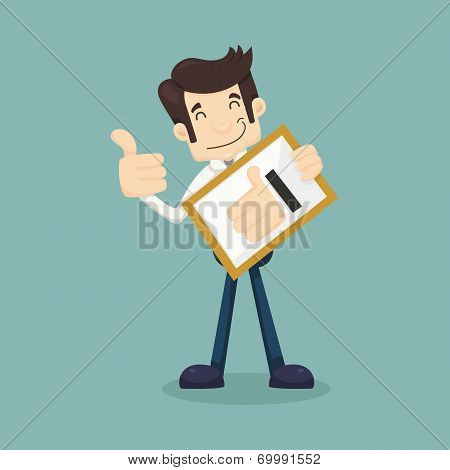 Businessman Holding Like Thumbs Up