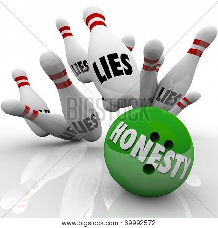 Honesty word on a green 3d bowling ball striking pins marked Lies to illustrate sincerity and integrity winning the game over deceit and dishonesty