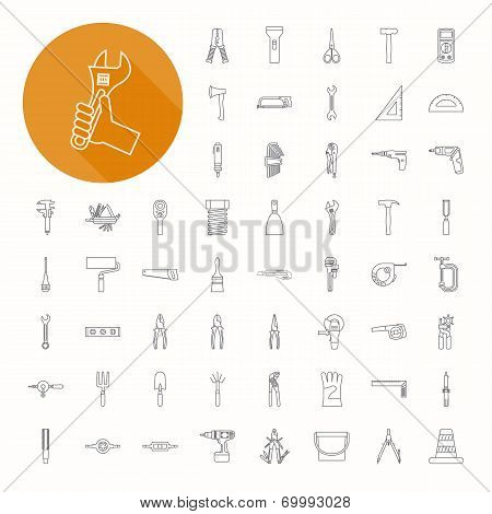 Hand Tools Icons , Thin Icon Design