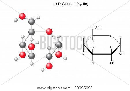 Structural Chemical Formula And Model Of Glucose (alpha-d-glucose)