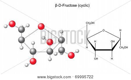 Structural chemical formula and model of fructose (beta-D-fructose), 2D and 3D illustration, vector, isolated on white background, eps8 poster