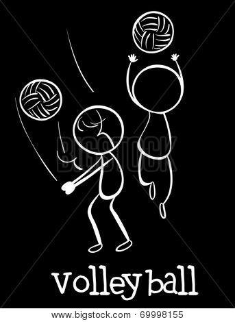 Illustration of stickmen playing volleyball