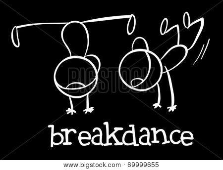 Illustration of kids breakdancing on black