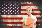 Mature student smiling against usa flag in grunge effect poster