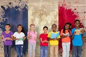 Elementary pupils reading books against france flag in grunge effect poster