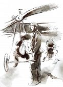 Vintage picture from the series: World between 1905-1949. At the airport - Postal plane with a pilot and soldier. An hand drawn vector illustration (converted). poster