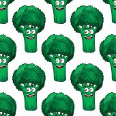 Cartoon smiling green broccoli vegetable seamless background pattern poster