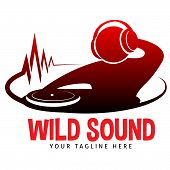 "Logo ""Wild Sound"" for disco, etc... Dj with headphones on stage poster"
