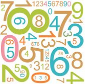 Abstract numerical math background with colorful numbers poster