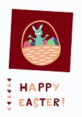 Easter greeting card with cute bunny and eggs in basket poster